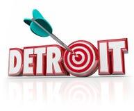 Detroit-Wort-Pfeil in der Ziel-Bullaugen-Bewegungsstadt-Autoindustrie Stockbilder