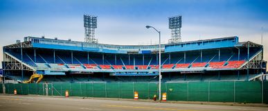 Detroits老泰格体育场爆破 免版税库存照片