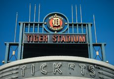 Detroits老泰格体育场爆破 库存照片