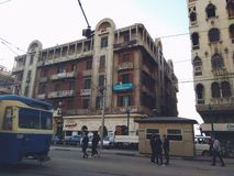 Detta omr?de kallas den Raml stationen, Alexandria, Egypten arkivfoton