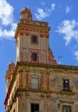 Dettagli a casa delle cinque torri, il quadrato della Spagna, Cadice fotografie stock libere da diritti