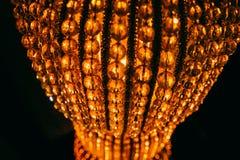 Dettagli a cristallo d'annata della lampada Fotografia Stock