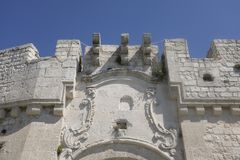Dettagli dell'entrata al castello del ` Angelo, Puglia di Monte Sant L'Italia Fotografia Stock