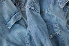 Dettagli della camicia del denim Fotografia Stock Libera da Diritti