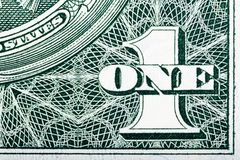 Dettagli della fattura in un dollaro americano Immagine Stock Libera da Diritti