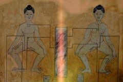 Dettagli delle pitture di massaggio di Art Mural Point al pho del wat immagini stock libere da diritti