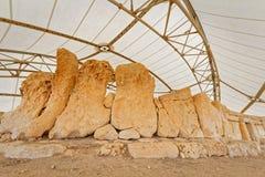 Dettagli delle tempie megalitiche di Malta (grandangolari eccellenti) Fotografie Stock Libere da Diritti