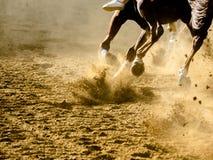 Dettagli di corsa di cavalli di Asti dei Di di Palio delle gambe galoppanti dei cavalli sull'ippodromo Fotografie Stock Libere da Diritti