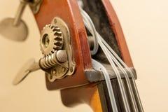 Dettagli di legno dello strumento del contrabbasso Fotografia Stock Libera da Diritti