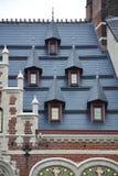 Dettagli di monumento storico lungo il Montagne de la Cour Hofberg a Bruxelles immagini stock libere da diritti