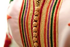 Dettagli di un caffettano marocchino rosa Fotografia Stock Libera da Diritti