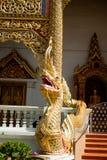 Dettagli di un serpente del Naga in un tempio in Chiang Mai Thailand-2 fotografie stock