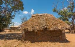 Dettagli di una casa tradizionale della tribù di Kenyan Giriama Fotografie Stock Libere da Diritti