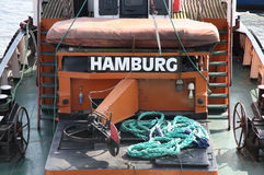Dettagli di vecchia barca tedesca con un titolo Immagine Stock