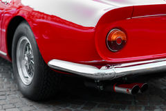 Dettagli indietro di un'automobile sportiva rossa d'annata Fotografia Stock