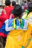 Dettagli indigeni dell'abbigliamento in Pujili Ecuador Fotografie Stock