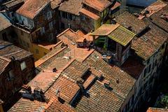 Dettagli la vista ai tetti della città di Lucca, Toscana, Italia Fotografie Stock Libere da Diritti