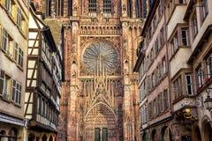Dettagli la vista della cattedrale di Strasburgo, l'Alsazia, Francia immagine stock libera da diritti