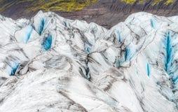 Dettagli la vista delle strutture del ghiacciaio e dei colori, Vatnajokull Fotografie Stock