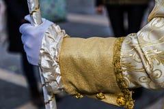 Dettagli la vista di un costume di epoca al carnevale veneziano 6 Immagine Stock Libera da Diritti
