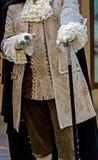 Dettagli la vista di un costume di epoca al carnevale veneziano 2 Immagini Stock Libere da Diritti