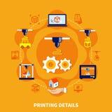 Dettagli per 3d la stampante On Orange Background Immagine Stock