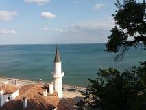 Dettaglio anziano del castello della regina Maria in Balchik, Bulgaria Fotografia Stock Libera da Diritti