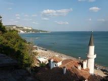 Dettaglio anziano del castello della regina Maria in Balchik, Bulgaria Immagini Stock