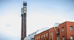 Dettaglio architettonico di vecchia distilleria di whiskey irlandese Jameson a Dublino fotografia stock libera da diritti