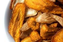 Dettaglio astratto estremo dei chip fritti della pastinaca e della carota Fotografia Stock