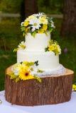 Dettaglio bianco della torta nunziale Fotografia Stock