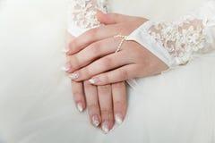 Dettaglio bianco di nozze Fotografie Stock Libere da Diritti