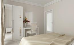 dettaglio bianco di progettazione della camera da letto 3d fotografie stock libere da diritti