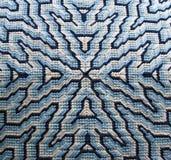 Dettaglio blu del cuscino del ricamo ad ago di Bargello immagine stock libera da diritti