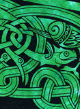 Dettaglio celtico del tessuto di motivo del pesce Fotografia Stock