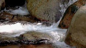 Dettaglio d'abbondanza del fiume con la fine su di roccia, in montagne spagnole di Pirenei stock footage