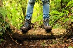 Dettaglio degli stivali fangosi negli altopiani vicino a boquete, Panama Fotografie Stock Libere da Diritti