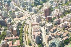 Dettaglio dei grattacieli in distretto del centro di Santiago de Chile Fotografia Stock