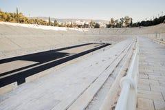 Dettaglio dei sedili dello stadio panatenaico, uno stadio multiuso a Atene, Grecia Fotografia Stock