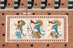 Dettaglio del castello di Sforza in Milan Italy Fotografia Stock