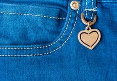 Dettaglio del cuore dei jeans Fotografie Stock