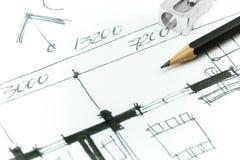 Dettaglio del disegno della pianta della casa royalty illustrazione gratis