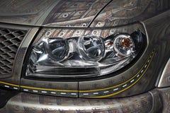 Dettaglio del faro dell'automobile Fotografie Stock