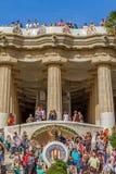 Dettaglio del lavoro di mosaico variopinto del parco Guell Barcellona della Spagna Fotografie Stock Libere da Diritti