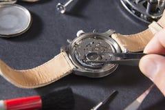 Dettaglio del lavoro di un orologiaio che sostituisce una batteria Immagine Stock Libera da Diritti