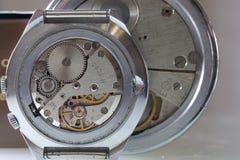 Dettaglio del macchinario dell'orologio macro Immagine Stock Libera da Diritti