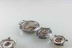 Dettaglio del macchinario dell'orologio macro Fotografia Stock
