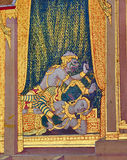 Dettaglio del murale dipinto alla parete del convento, kaew di phra del wat, Bangkok, Tailandia Immagine Stock