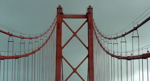 Dettaglio del ponte del 25 aprile, Lisbona, Portogallo Fotografie Stock Libere da Diritti