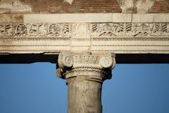 Dettaglio del tempio di Saturn a Roma Fotografia Stock Libera da Diritti